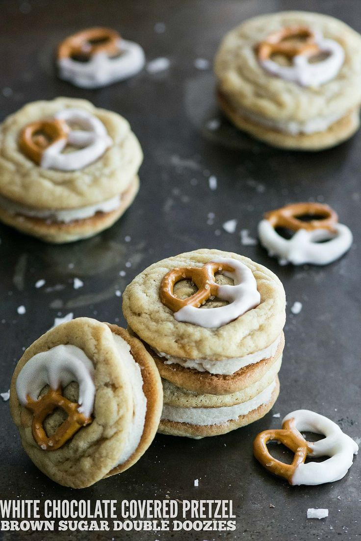 White Chocolate Covered Pretzel Brown Sugar Double Doozies | Kailley's Kitchen