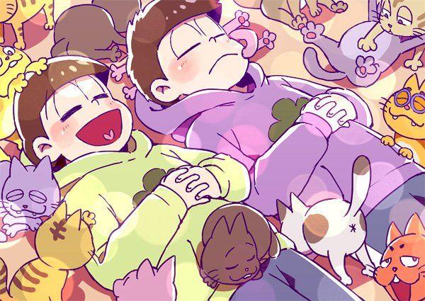 おそ松さん Osomatsu-san 猫に囲まれるチョロ松&一松