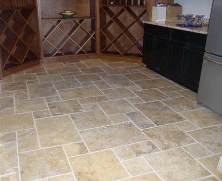 Chiseled Travertine Versailles Pattern Flooring