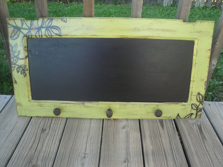 Repurposed Cabinet Door Shabby Chic Apple Green and Black ChalkBoard Branch and Leaf Shadow. $65.00, via Etsy.