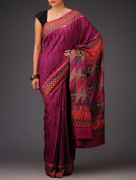 Fuschia-Pink Tussar Silk Kantha Embroidered Saree