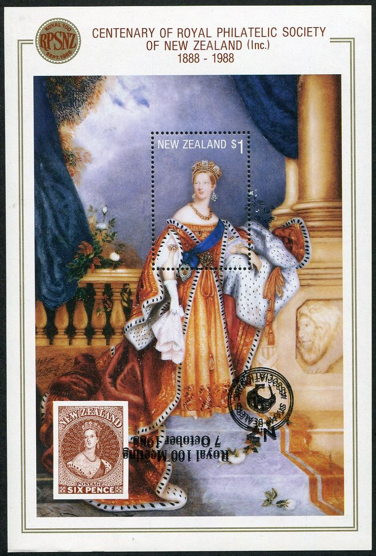Stamps - Errors #327104 NZ Error 1988 RPSNZ Centenary Miniature sheet with Royal 100 Stamp Dealers Association o/p, complete o/p clearly doubled & inverted to design, unlisted ...