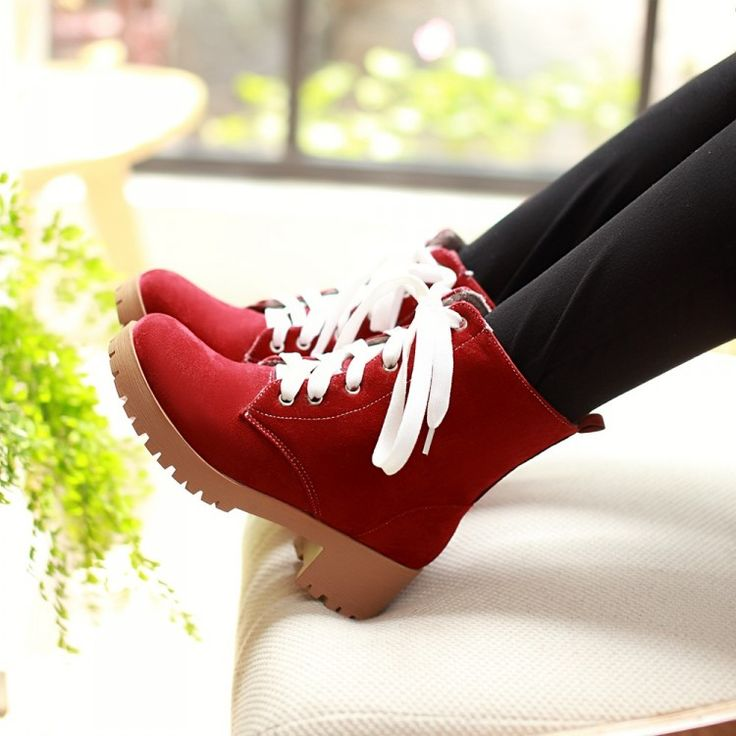 Women's Pure Color Low Heel Square Heel Shoelace Martin Boots