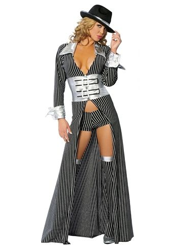 Mafia Mama Women Gangster Long Coat Costume, $94.99 - The Costume Land