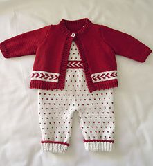 Baby All-in-one Bib Overalls with matching sweater P026 by OGE Knitwear Designs - $5