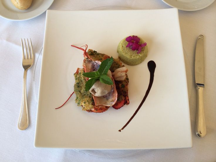 lobster with sorbet of olive and zucchini soufflé