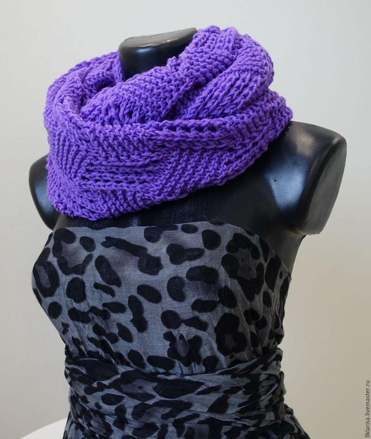 Купить шарф-снуд ажурный - фиолетовый, снуд вязаный, снуд спицами, снуд в два оборота