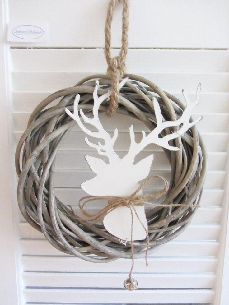 Tür-Kranz HIRSCH-KOPF weiß Rattankranz Metall 25cm Weihnachten Shabby Landhausstil