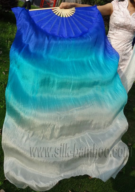 1 pair Chinese belly dance silk fan veil by silkbamboo on Etsy, $26.00