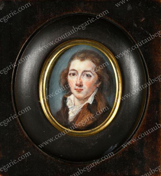 ÉCOLE FRANÇAISE DU XVIIIe SIÈCLE Portrait de Camille Desmoulins (1760-1794). Miniature de forme ovale, le représentant à l'âge de 26 ans en 1786