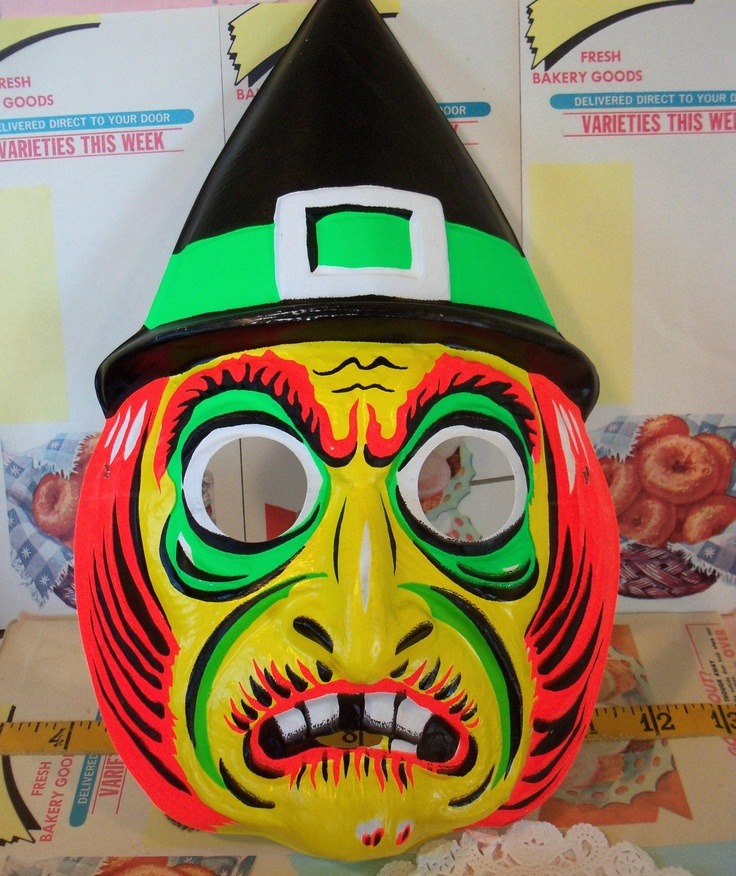 Vintage Collegeville Wicked Witch Mask Child Size Made In USA 595