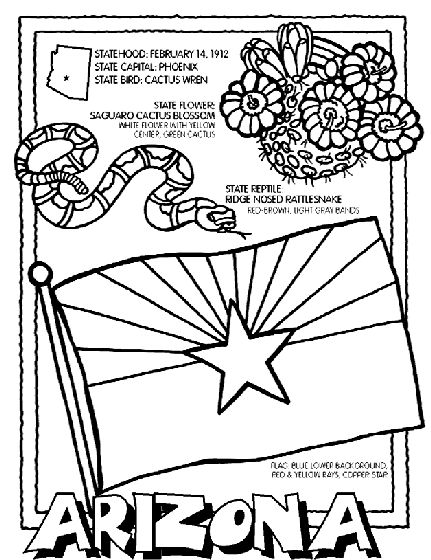 Learn facts about Arizona with this fun coloring page.