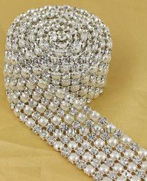 P6 1 Yard 6 Rows Diamond A Rhinestone and Pearl Wedding Cake Banding Trim Ribbon Deco