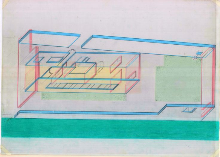 Perspectiva Axonométrica. Ville Le Lac - Le Corbusier.