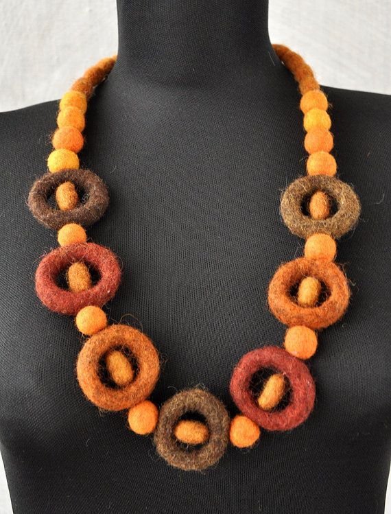 felted necklace designer fashion jewellery handmade felted scarf beads