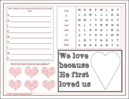 st valentines day activity page placemat printable - Valentines Day Activities For Kids