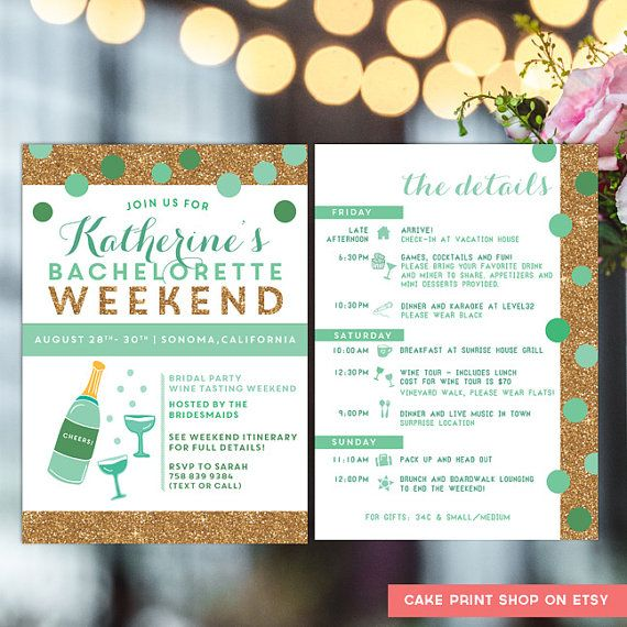 Bachelorette printable Itinerary, Bachelorette invite with itinerary, mint and gold bachelorette, hens party invitation, hens weekend, mint  Gold