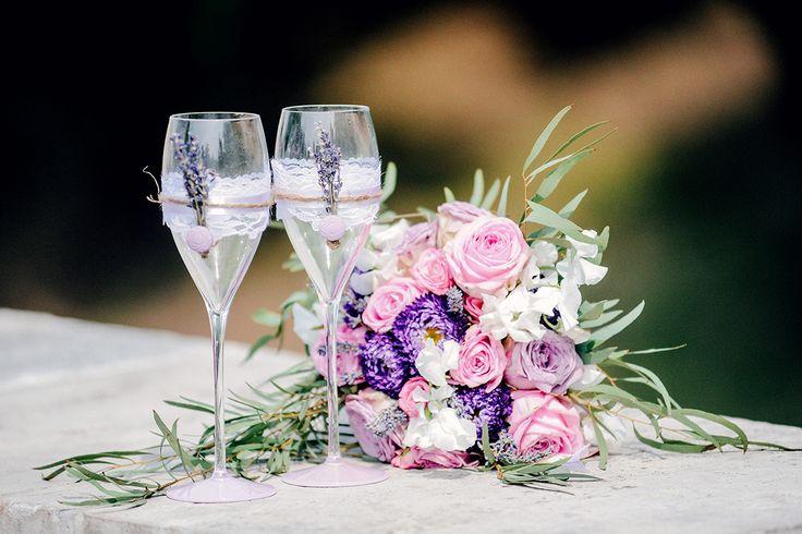 букет, букет невесты, бокалы, бокалы для шампанского, прованс, сиреневый, розовый, цветы
