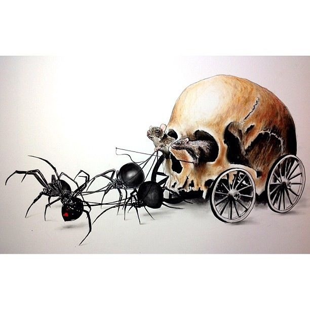 Spider skull carriage driven by rats. Black widows