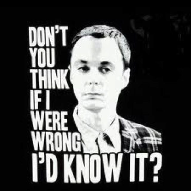 Sheldon Cooper - Do You Think If I Were Wrong I'd Know