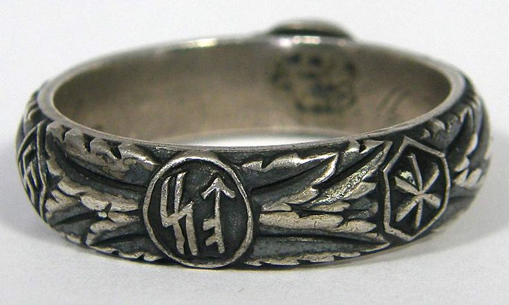 SS Totenkopfring (Honor Ring) awarded to SS officer Hunberger dated 4-20-44