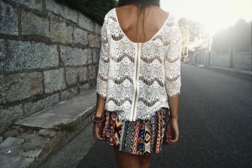 lace top and tribal print skirt
