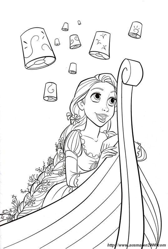 Ausmalbild Disney Laternen Rapunzel Malvorlagen tiere