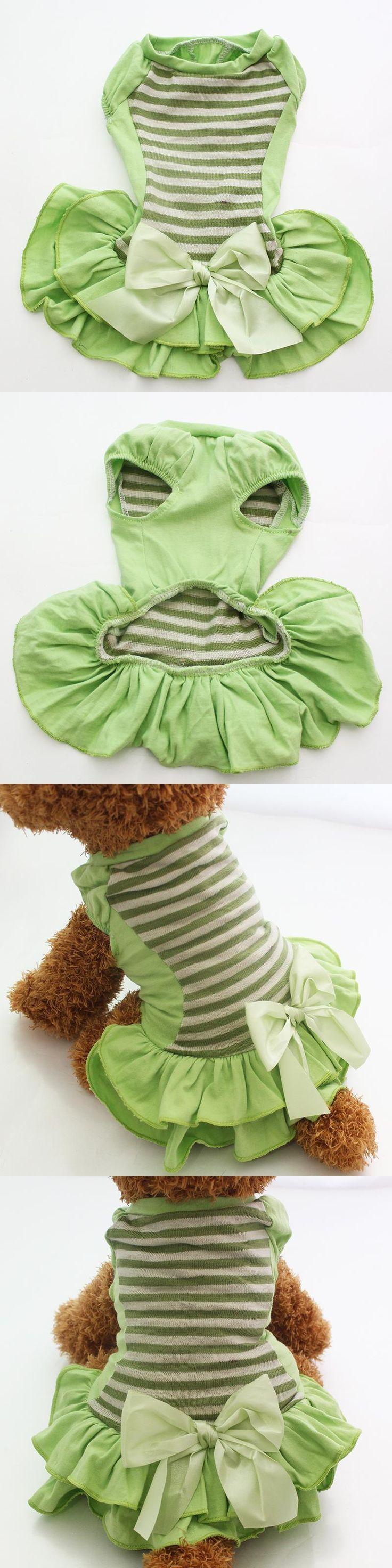 Dog Pet Striped&Bow Dress Home Shirt Cat Puppy Skirt Vest Summer Clothes Apperal