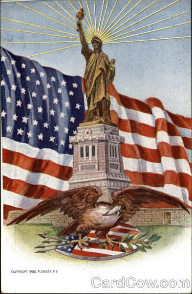 The Statue of Liberty, American Flag and Eagle Patriotic