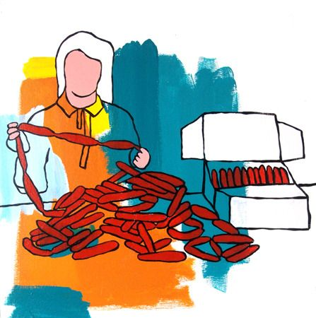 Hugh Ford  Sorting Sausages - 2013 Acrylic on canvas 47 x 47 cm $1750 Solo Show - 'Nostalgic For Now' 01/03/2014 - 12/04/2014