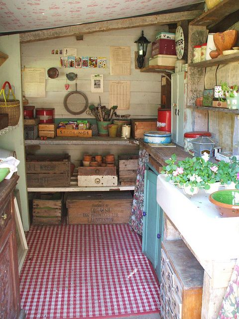 Rustic but organised potting shed