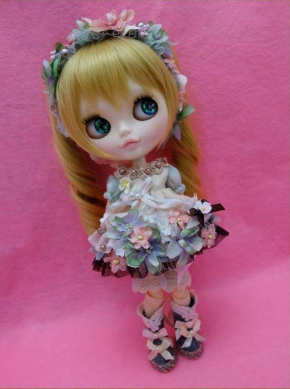 ネオブライス☆ブライスOF☆お花の妖精さんドレス☆ブーツ付き☆6点セット☆【M&N】_パニエを履くとロング丈に♪