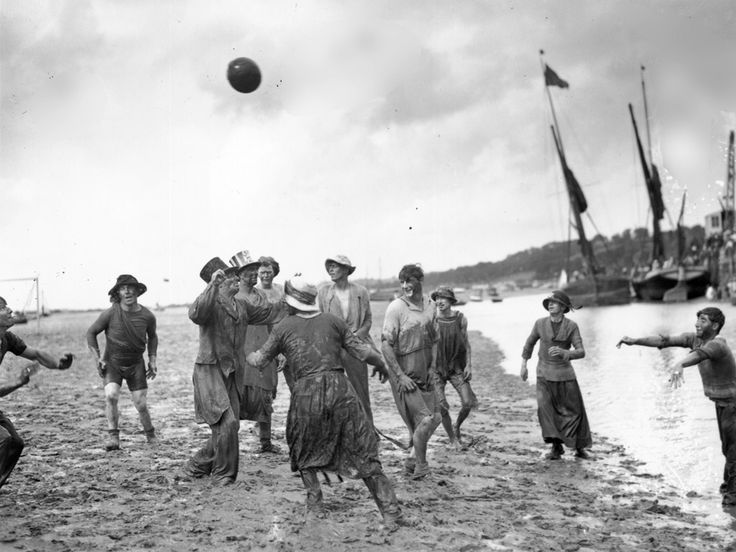 Players participate in the annual #football match in the mud before the #LeighonSea Regatta.