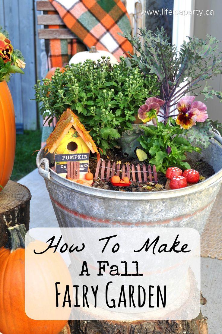 Fall Fairy Garden: How to make a sweet little Fall themed Fairy Garden with an…