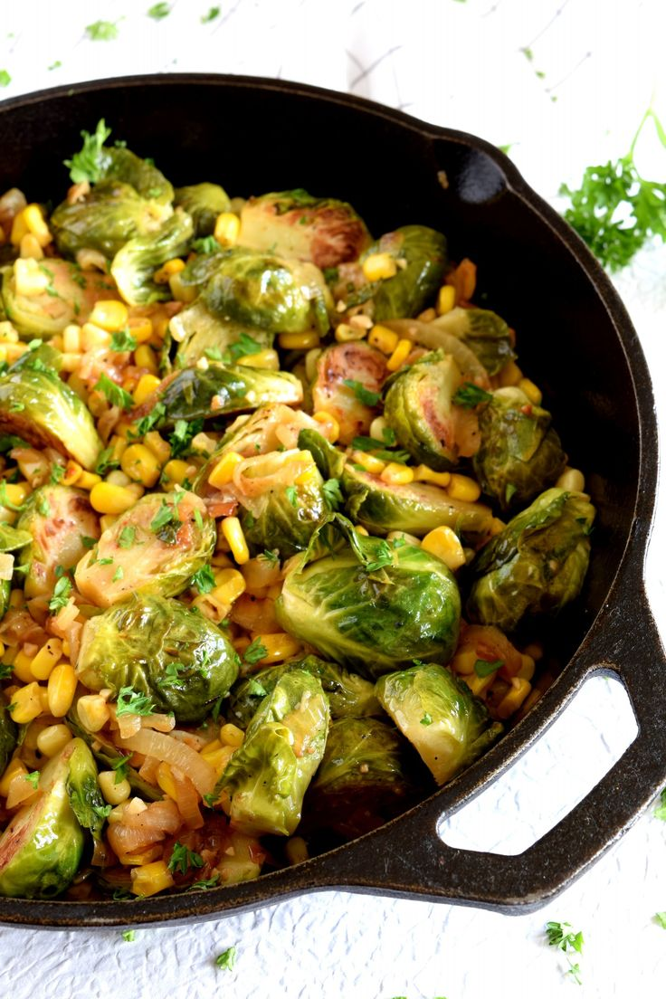 Slightly spicy pan-seared brussel sprouts with sweet corn and caramelized onions.