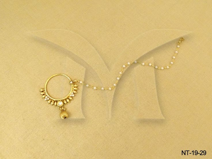 MOTI STRUCTURED TRADITIONAL CHAINED ANTIQUE NATH