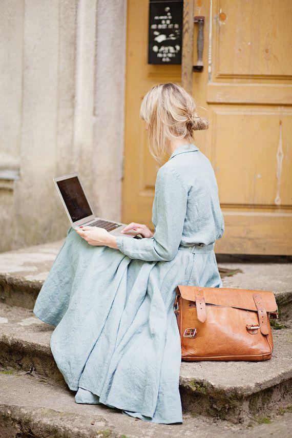 Linnen Shirt Turquoise Blue lange mouw kraag Top door SondeflorShop