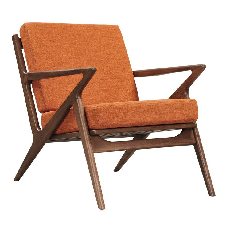 Burnt Orange Upholstered Zain Chair With A Walnut Finish Frame