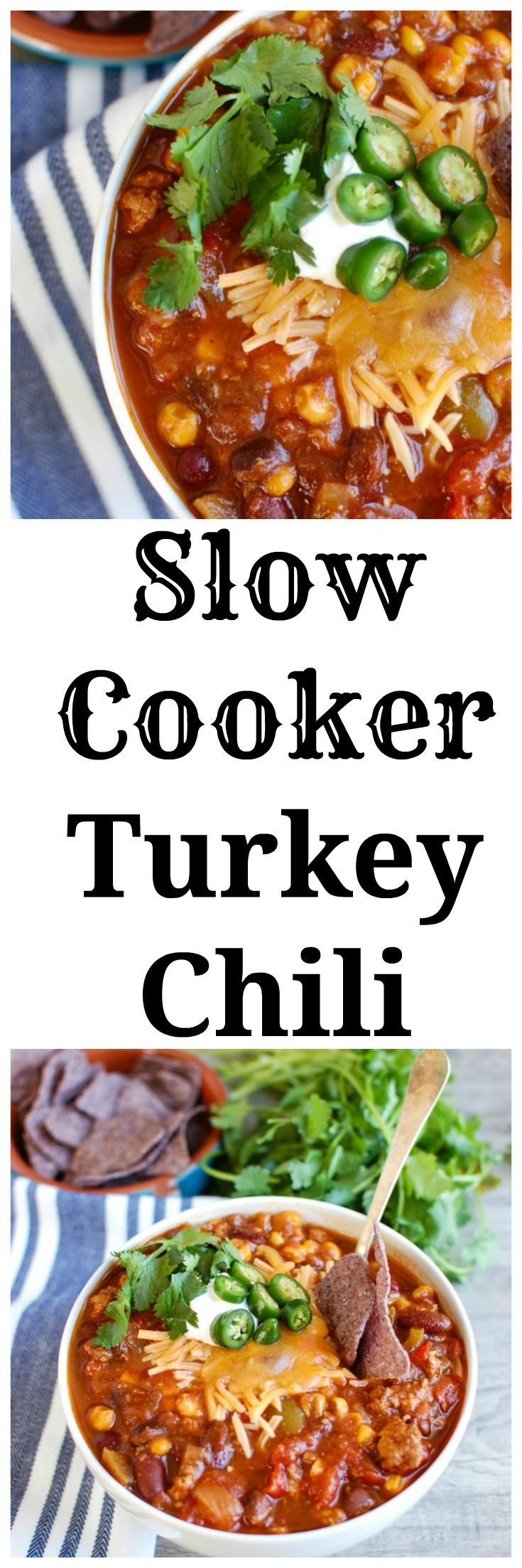 Slow Cooker Turkey Chili is a leaner chili than when beef is used but ...