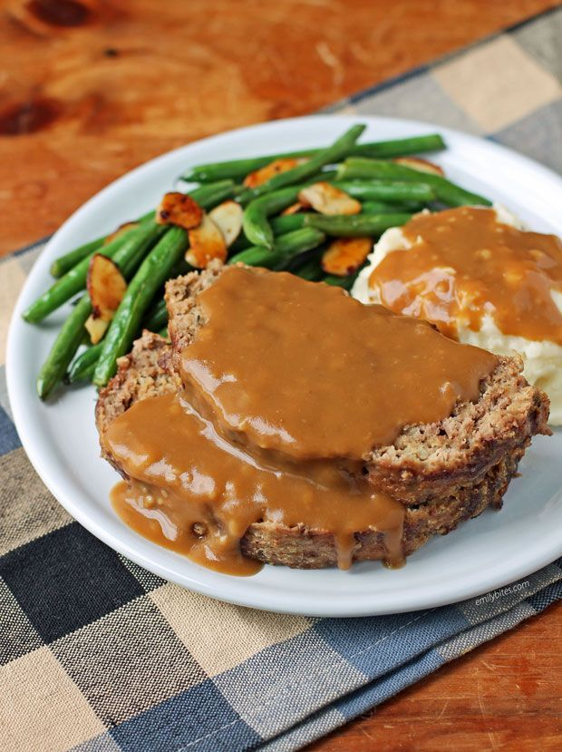 Meatloaf With Gravy Emily Bites In 2021 Meatloaf With Gravy Meatloaf Recipes