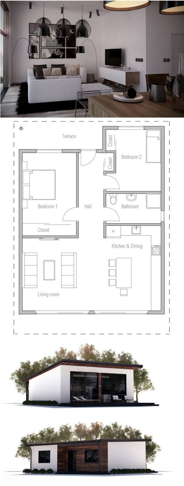 883sq.ft. Home Plan from ConceptHome.com