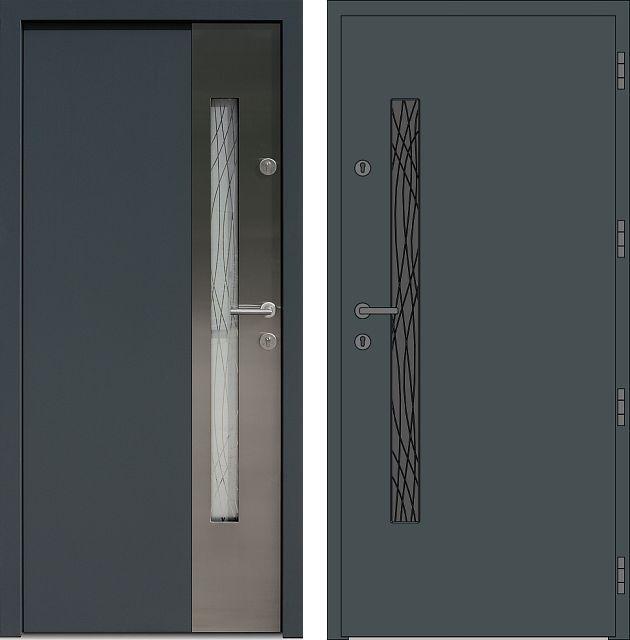 Drzwi wejściowe z aplikacjamii ze stali nierdzewnej inox wzór 417,1-417,11+ds1 antracyt
