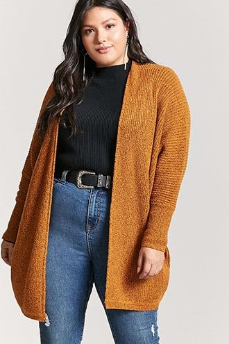 Plus Size Draped Open-Front Cardigan 1