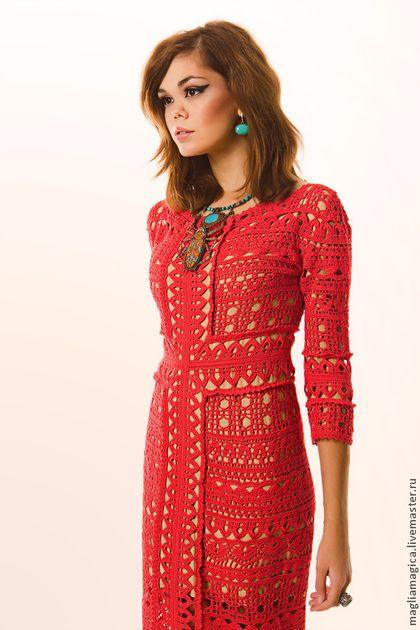 Вкус солнечного света - коралловый,однотонный,платье летнее,платье вязаное