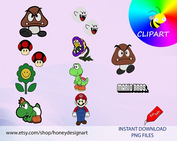 MARIO BROS - CL024 clipart, PNG files printables