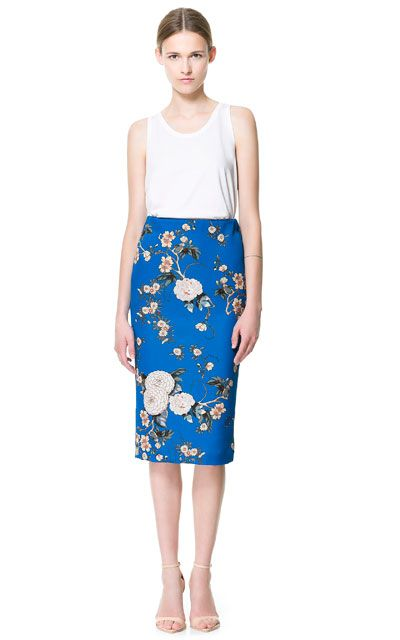 bright blue floral pencil skrit