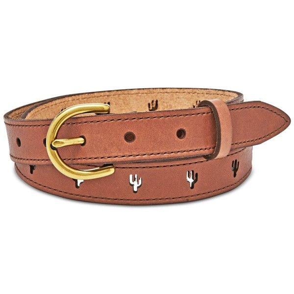 Fossil Skinny Cactus Leather Belt ($34) ❤ liked on Polyvore featuring accessories, belts, tan, tan belt, tan leather belt, leather belt and fossil belts