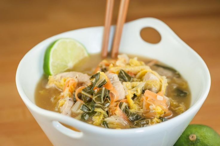Asian Chicken Soup with Napa Cabbage and Bok Choy  @PaleoSavvy