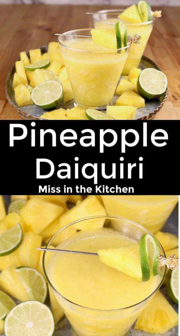 Pineapple Daiquiri Frozen Rum Cocktail Miss In The Kitchen In 2020 Pineapple Rum Drinks Frozen Cocktails Rum Drinks Recipes