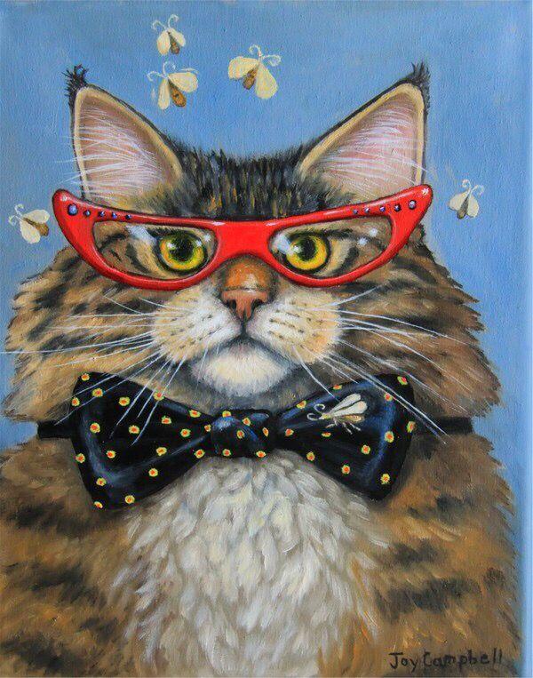 Прикольные кошки рисунки, открытки днем